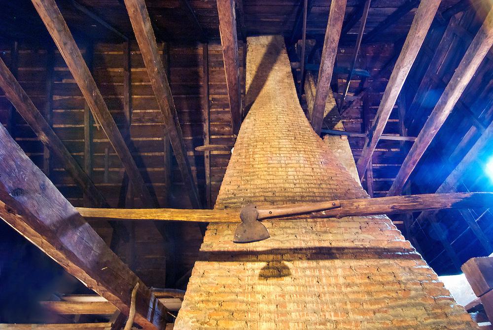 Jean Hasbrouck House chimney in attic, Historic Huguenot Street, New Paltz NY