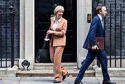 © Licensed to London News Pictures. 16/10/2018. London, UK. Leader of the House of Commons Andrea Leadsom (L) and Secretary of State for Health and Social Care Matt Hancock (R) leave 10 Downing Street after the Cabinet meeting. Photo credit: Rob Pinney/LNP