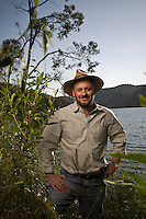 Australian author and environmentalist Tim Flannery on the Hawksbury River in Sydney's north.