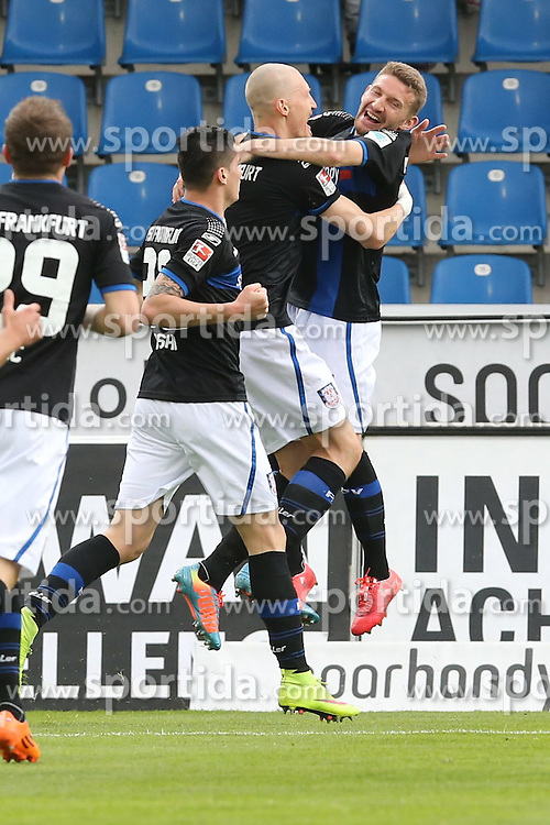 11.04.2015, Frankfurter Volksbank Stadion, Frankfurt, GER, 2. FBL, FSV Frankfurt vs SpVgg Greuther Fuerth, 28. Runde, im Bild Torjubel zum 1:0 : Torschuetze Joni Kauko (FSV Frankfurt) jubelt mit dem Flankengeber Alexander Huber (FSV Frankfurt) // during the 2nd German Bundesliga 28th round match between FSV Frankfurt and SpVgg Greuther Fuerth at the Frankfurter Volksbank Stadion in Frankfurt, Germany on 2015/04/11. EXPA Pictures &copy; 2015, PhotoCredit: EXPA/ Eibner-Pressefoto/ Roskaritz<br /> <br /> *****ATTENTION - OUT of GER*****