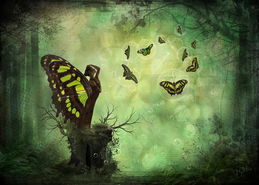 Butterflies dancing in in sunbeams in an enchanted, warm green forest clearing watched by a mythical woman