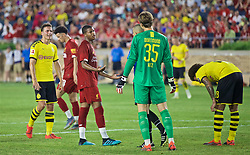 SOUTH BEND, INDIANA, USA - Friday, July 19, 2019: Liverpool's Rhian Brewster and Borussia Dortmund's goalkeeper Marwin Hitz during a friendly match between Liverpool FC and Borussia Dortmund at the Notre Dame Stadium on day four of the club's pre-season tour of America. (Pic by David Rawcliffe/Propaganda)