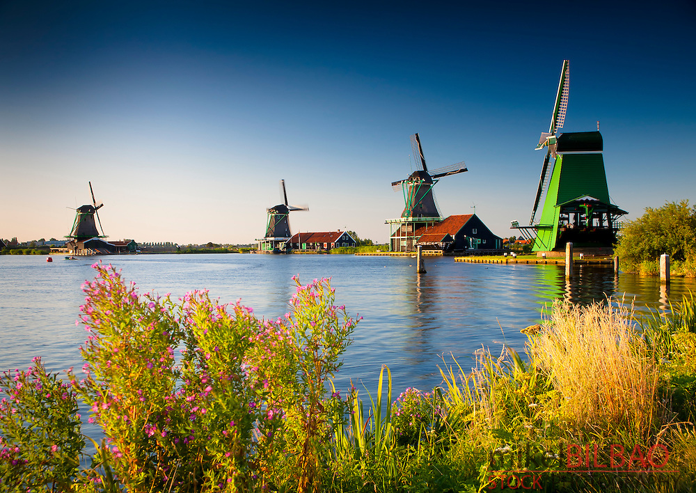 Windmills. <br /> Zaanse Schans, Zaanstad , Zaandam, North Holland province, Holland, Netherlands, Europe