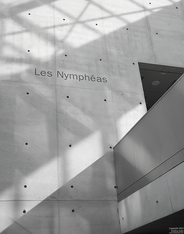 Black and white photograph of a section of the interior of the Musée de l'Orangerie in Paris.