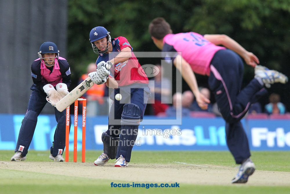 Picture by James Ward/Focus Images Ltd. 07908 205049 .24/6/11.Martin Van Jaarsveld of Kent faces a Tim Murtagh delivery during the Friends Life T20 match at Uxbridge Cricket Club.