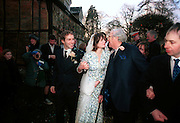 Bride and groom and John Mortimer. Marriage of Emily Mortimer, ( daughter of John Mortimer ) to Alessandro Nivola, Turville.© Copyright Photograph by Dafydd Jones 66 Stockwell Park Rd. London SW9 0DA Tel 020 7733 0108 www.dafjones.com