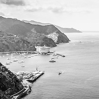 Avalon Bay Catalina Island aerial black and white panorama photo from above in the mountains. Catalina Island is a popular travel destination off the coast of Southern California in the United States.