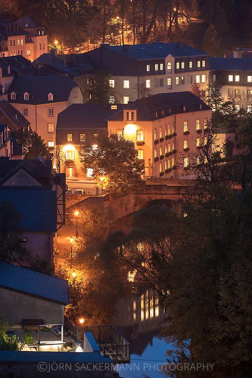 LUX, Luxembourg, city of Luxembourg, houses in the district Grund, the river Alzette.<br /> <br /> LUX, Luxemburg, Stadt Luxemburg, Haeuser im Stadtteil Grund, der Fluss Alzette.