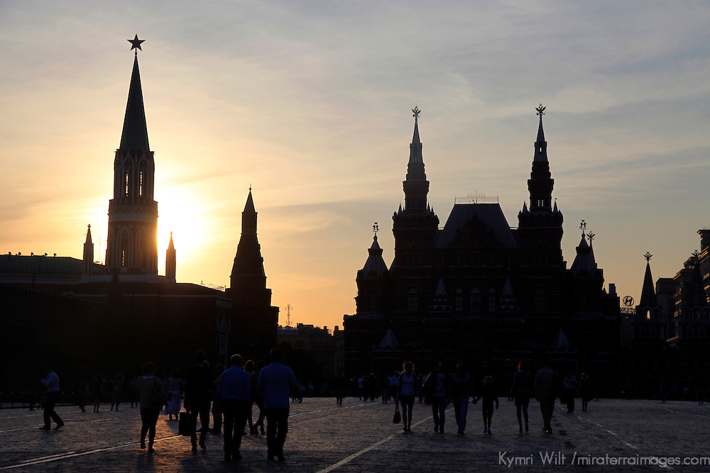 Europe, Russia, Moscow. Red Square at sunset.