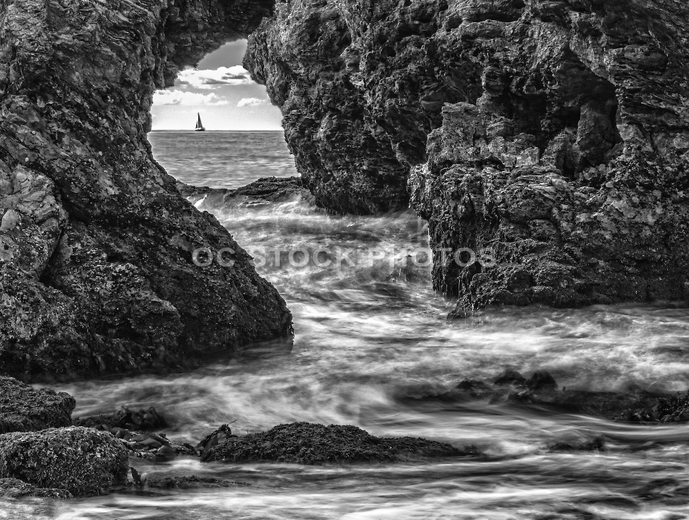 Cameo Shores Arch Rock Black and White Stock Photo