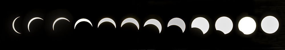 Solar eclipse of the sun shot from Seattle Center Monday, August 21, 2017.  92% of the sun was obscured by the moon in Seattle.