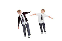 Boys with arms outstretched over white background