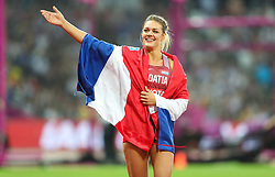 London, August 13 2017 . New world champion Sandra Perkovic celebrates  winning the women's discus on day ten of the IAAF London 2017 world Championships at the London Stadium. © Paul Davey.