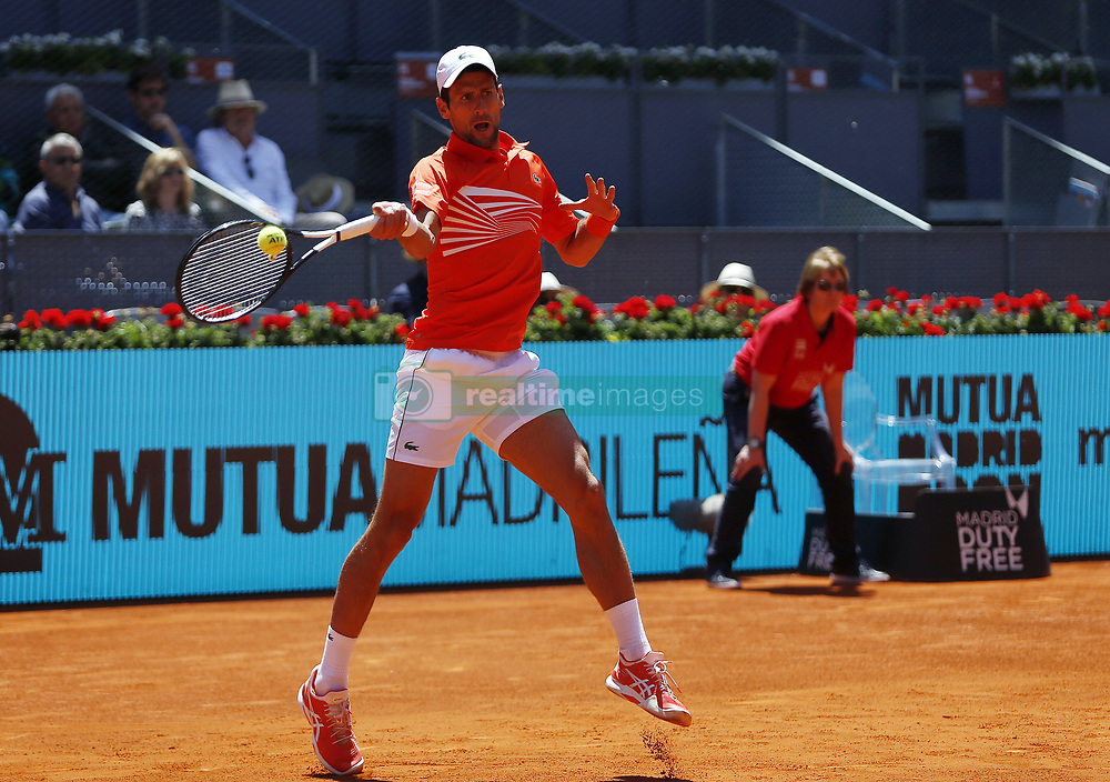May 9, 2019 - Madrid, Madrid, Spain - Novak Djokovic of Serbia seen in action against Jeremy Chardy of France during day seven of the Mutua Madrid Open at La Caja Magica in Madrid, Spain. (Credit Image: © Manu Reino/SOPA Images via ZUMA Wire)