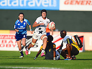 USA player Lauren Doyle on the attack down the sideline  during the Emirates Dubai rugby sevens match between USA and South Africa  at the Sevens Stadium, Al Ain Road, United Arab Emirates on 1 December 2016. Photo by Ian  Muir.*** during the Emirates Dubai rugby sevens match between *** and ***  at the Sevens Stadium, Al Ain Road, United Arab Emirates on 1 December 2016. Photo by Ian  Muir.