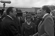 Canadian Prime Minister, Pierre Trudeau arrives in Dublin    (J17).14.03.1975.03.14.1975.3rd April 1975..Pierre Trudeau arrived today for a brief visit to Ireland. He was greeted by the Taoiseach Mr. Liam Cosgrave on his arrival at Dublin Airport..Canadian Ambassador Harold Morton Maddick (?),greets Canadian Prime Minister Pierre Trudeau alongside An Taoiseach Liam Cosgrave on his arrival at Dublin Airport.