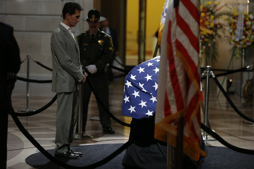 as San Francisco Mayor Ed Lee lies in state at City Hall on Friday, Dec. 15, 2017, in San Francisco, Calif. Lee died on Tuesday from a heart attack. He was 65 years old.
