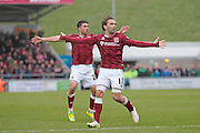 Northampton No 11 Ricky Holmes appeals for a goal from a free kick in the Sky Bet League 2 match between Northampton Town and Bristol Rovers at Sixfields Stadium, Northampton, England on 9 April 2016. Photo by Nigel Cole.