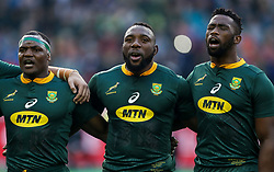 Chiliboy Ralepelle with Tendai Mtawarira and Siya Kolisi (captain) of South Africa - Mandatory by-line: Steve Haag/JMP - 23/06/2018 - RUGBY - DHL Newlands Stadium - Cape Town, South Africa - South Africa v England 3rd Test Match, South Africa Tour