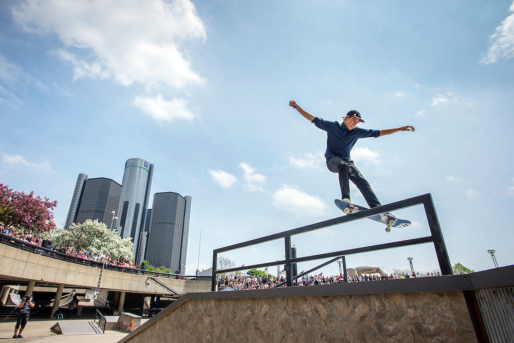 DETROIT - MAY 9: Red Bull Hart Lines street skateboarding competition Saturday, May 9, 2015 at Hart Plaza in downtown Detroit. (Photo by Bryan Mitchell)