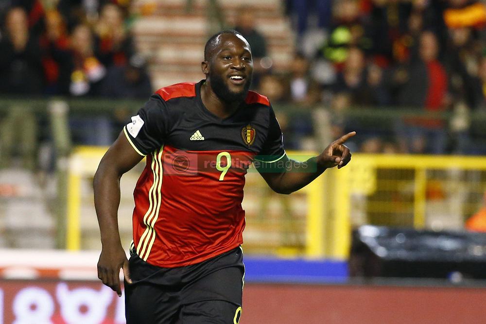 October 10, 2017 - Bruxelles, Belgique - Romelu Lukaku forward of Belgium scores and celebrates (Credit Image: © Panoramic via ZUMA Press)