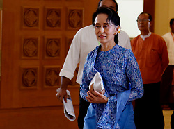 Chairperson of Myanmar's ruling National League for Democracy (NLD) Aung San Suu Kyi arrives to attend a session of Myanmar Union Parliament in Nay Pyi Taw, Myanmar, March 30, 2016. Aung San Suu Kyi was appointed on Wednesday as the country's new minister of foreign affairs, concurrently holding three other portfolios in the new government. EXPA Pictures © 2016, PhotoCredit: EXPA/ Photoshot/ U Aung<br /> <br /> *****ATTENTION - for AUT, SLO, CRO, SRB, BIH, MAZ, SUI only*****
