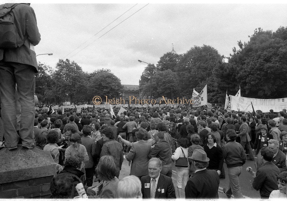 H-Block Protest To British Embassy.  (N86)..1981..18.07.1981..07.18.1981..18th July 1981..A protest march to demonstrate against the H-Blocks in Northern Ireland was held today in Dublin. After the death of several hunger strikers in the H-Blocks feelings were running very high. The protest march was to proceed to the British Embassy in Ballsbridge...Picture shows the vanguard of the march reaching the Garda line, as they are held back from the British Embassy.