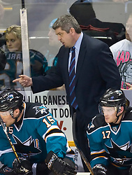 January 6, 2010; San Jose, CA, USA; San Jose Sharks head coach Todd McLellan during the second period against the St. Louis Blues at HP Pavilion. San Jose defeated St. Louis 2-1 in overtime. Mandatory Credit: Jason O. Watson / US PRESSWIRE
