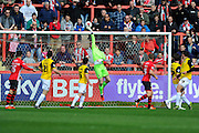 Northampton Town goalkeeper Adam Smith tips the ball over the bar during an Exeter attack during the Sky Bet League 2 match between Exeter City and Northampton Town at St James' Park, Exeter, England on 16 April 2016. Photo by Graham Hunt.
