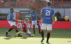 Rangers' Alfredo Morelos scoring his sides fourth goal during the Ladbrokes Scottish Premiership match at the Hope CBD Stadium, Hamilton.