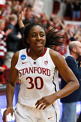 March 21, 2011; Stanford, CA, USA; Stanford Cardinal forward Nnemkadi Ogwumike (30) runs off the court after the game against the St. John's Red Storm during the second round of the 2011 NCAA women's basketball tournament at Maples Pavilion. Stanford defeated St. John's 75-49.
