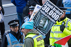 Protesters demonstrate on Whitehall in Long on against the visit to the UK by protest against Saudi Crown Prince Mohammad Bin Salman. London, March 07 2018.
