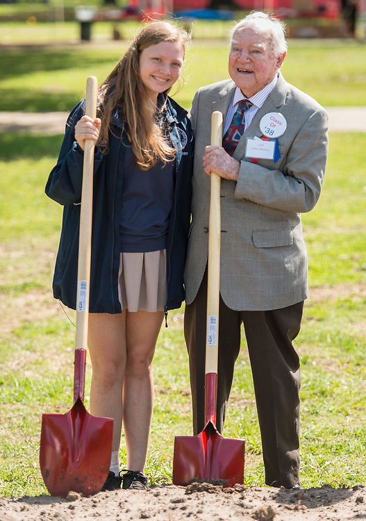 Micaela Tucker '17 poses for a photograph with Arthur Stimson '38 during a groundbreaking ceremony at Lamar High School, March 30, 2017.