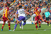 Bradford City midfielder Romain Vincelot kicks the ball clear during the EFL Sky Bet League 1 match between Bradford City and Rotherham United at the Northern Commercials Stadium, Bradford, England on 16 September 2017. Photo by Aaron  Lupton.