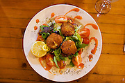 Close up of pub lunch plate at the White Horse Inn at Hascomb, UK. Lunch with Richard and Fenella Hodson, Godalming, UK. (Material World Family from Great Britain UK) and photographer David Reed.