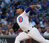 August 30, 2017 - Chicago, IL, USA - Chicago Cubs starting pitcher Jose Quintana works against the Pittsburgh Pirates during the first inning at Wrigley Field in Chicago on Wednesday, Aug. 30, 2017. (Credit Image: © Nuccio Dinuzzo/TNS via ZUMA Wire)