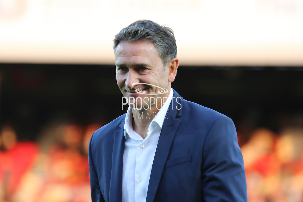 Nottingham Forest Manager Philippe Montanier smiling during the EFL Sky Bet Championship match between Brentford and Nottingham Forest at Griffin Park, London, England on 16 August 2016. Photo by Matthew Redman.