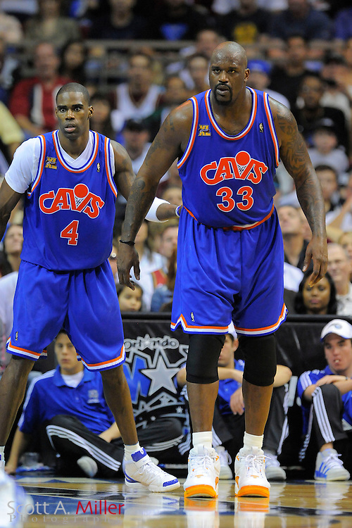 Cleveland Cavaliers forward Antawn Jamison #4 and center Shaquille O'Neal #33 in action against the Orlando Magic at Amway Arena, Florida, February 21, 2010..©2010 Scott A. Miller