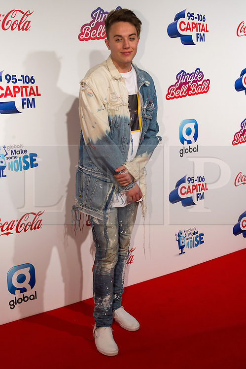 © Licensed to London News Pictures. 03/12/2016. Capital presenter ROMAN KEMP attends Capital's Jingle Bell Ball with Coca-Cola at London's O2 Arena London, UK. Photo credit: Ray Tang/LNP