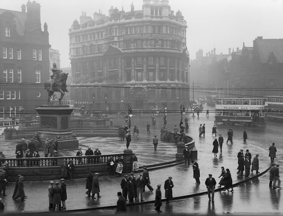 Rain, Pedestrians, Leeds, England, 1932