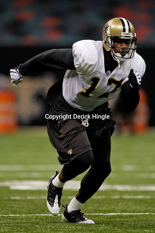 24 August 2009: New Orleans Saints wide receiver Robert Meachem (17) runs a route during New Orleans Saints training camp practice at the Louisiana Superdome in New Orleans, Louisiana.