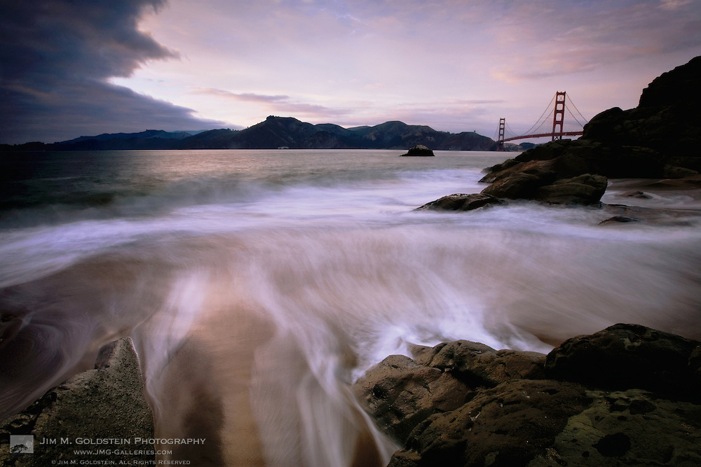 A stormy view of the Golden Gate Bridge from Baker Beach.