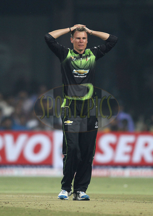 Johan Botha of the Warriors reacts after a close call during match 1 of the NOKIA Champions League T20 ( CLT20 )between the Royal Challengers Bangalore and the Warriors held at the  M.Chinnaswamy Stadium in Bangalore , Karnataka, India on the 23rd September 2011..Photo by Shaun Roy/BCCI/SPORTZPICS