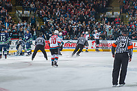 KELOWNA, CANADA - APRIL 26: Nolan Foote #29 of the Kelowna Rockets scores a goal against the Seattle Thunderbirds on April 26, 2017 at Prospera Place in Kelowna, British Columbia, Canada.  (Photo by Marissa Baecker/Shoot the Breeze)  *** Local Caption ***