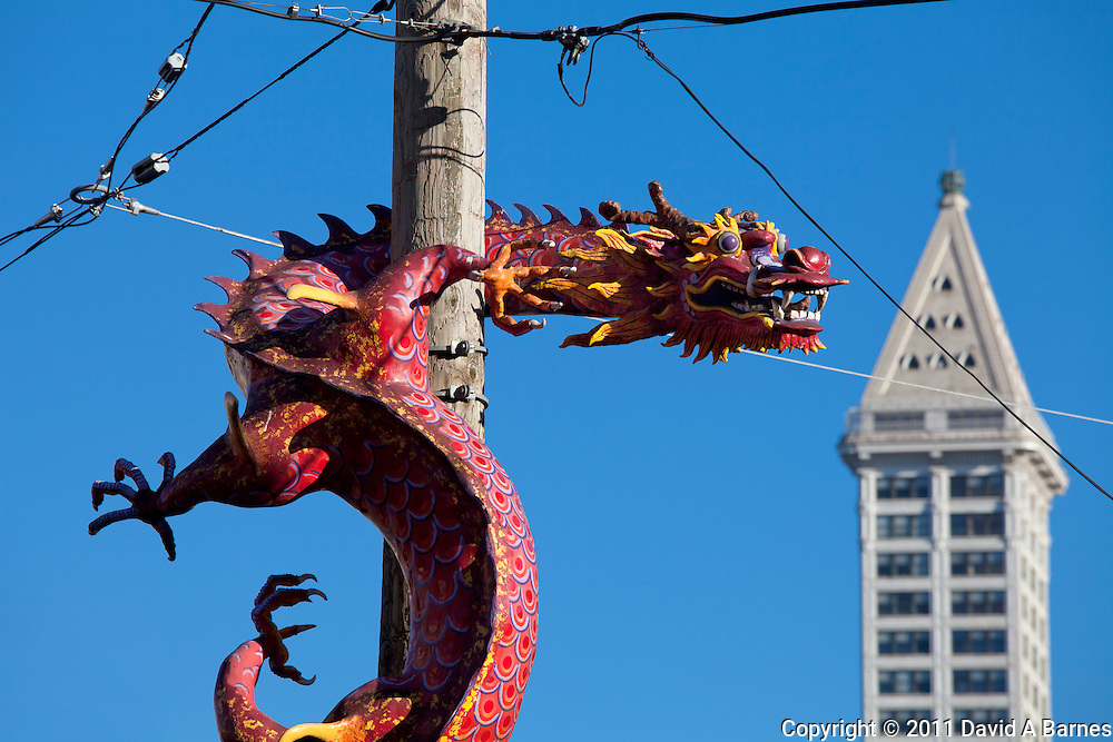 Dragon on telephone pole in International District, Smith Tower, Seattle, Washington, USA