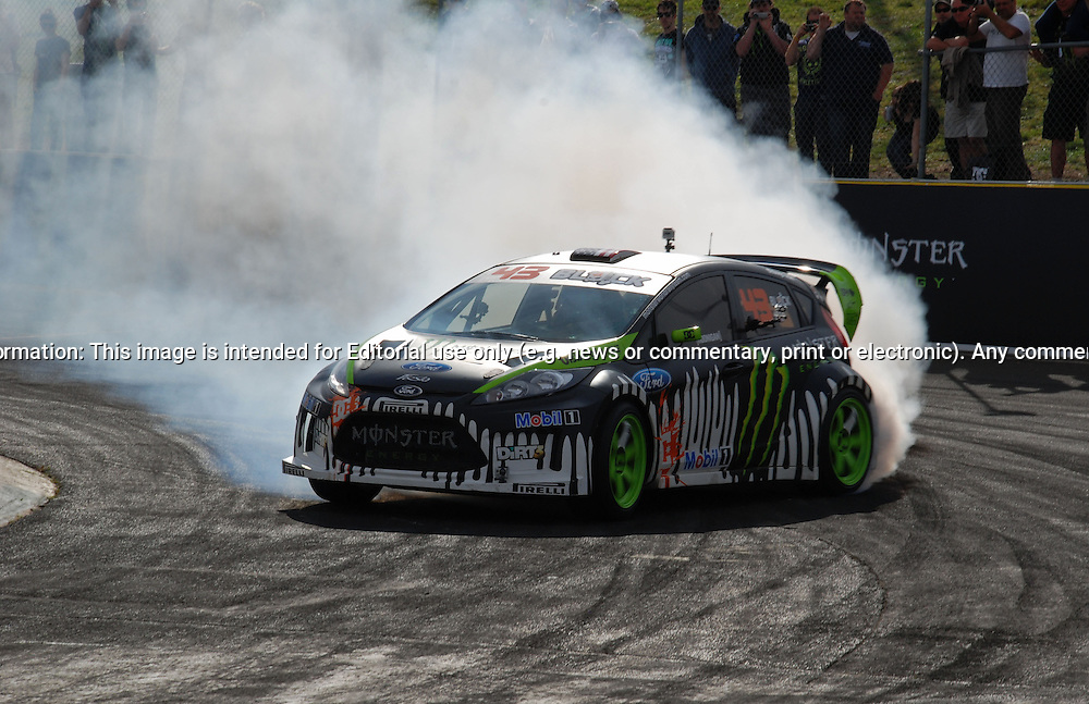 Ken Block - Ford Fiesta Rally Car.Gymkhana World Tour - Melbourne - Calder Park .Calder Park Raceway.Calder Park, Melbourne, Victoria.3rd of September 2011.(C) Joel Strickland Photographics.Use information: This image is intended for Editorial use only (e.g. news or commentary, print or electronic). Any commercial or promotional use requires additional clearance.
