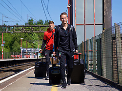 RUNCORN, ENGLAND - Tuesday, May 22, 2018: Wales' assistant coach Albert Stuivenberg at Runcorn Station as the squad travel by train as they head to Heathrow for a flight to Los Angeles ahead of the international friendly match against Mexico. (Pic by David Rawcliffe/Propaganda)