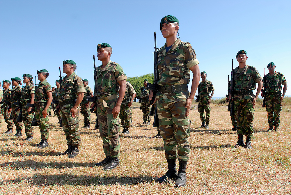 The F-FDTL, East Timorese Army, put on a parade for Xanana Gusmao by the East Timorese Army.