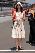 Ashley Judd seen on pit road after her husband Dario Franchitti finishes his qualification run putting him on the provisional pole position for the Indy 500 on May 12, 2007. Photo by Michael Hickey