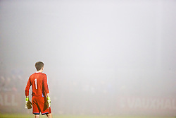 NEWPORT, WALES - Sunday, November 1, 2015: Scotland's goalkeeper Jon McCracken peers out into the fog during the Under-16's Victory Shield International match against Wales at Dragon Park. (Pic by David Rawcliffe/Propaganda)